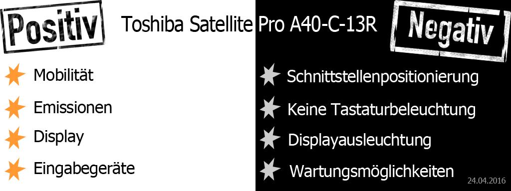 Toshiba Satellite Pro A40 Pro und Contra