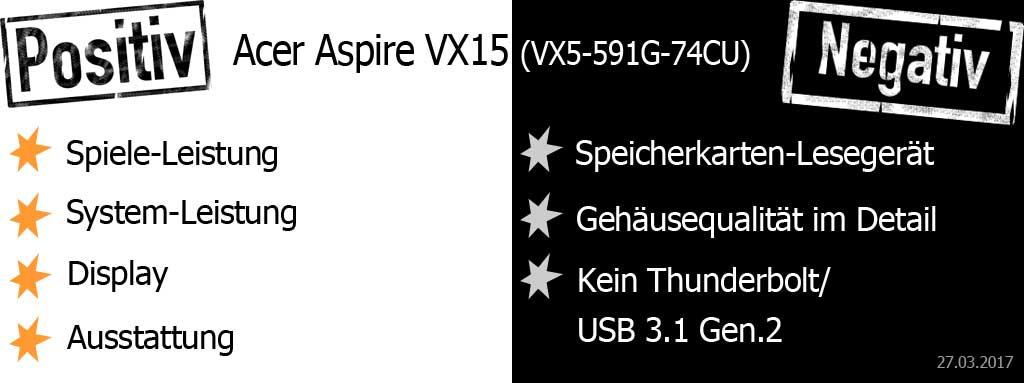 Acer Aspire VX15 Pro & Contra